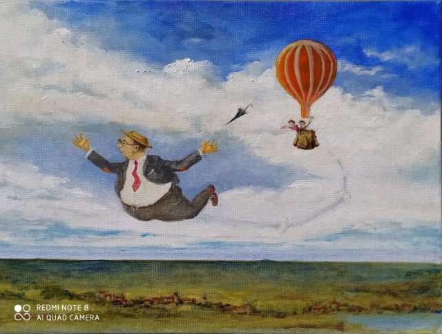 Mr. Tibbs repülni tanul. (Olaj, vászon 30x40 cm.)